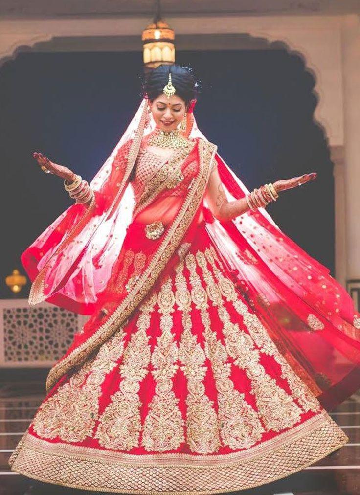 Heavy Indian Bride Red Bridal Lehenga with Zardozi Work at Zikimo
