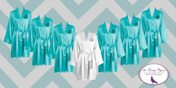 Teal Bride and Bridesmaid Robes/ Personalized by thefancypigeon