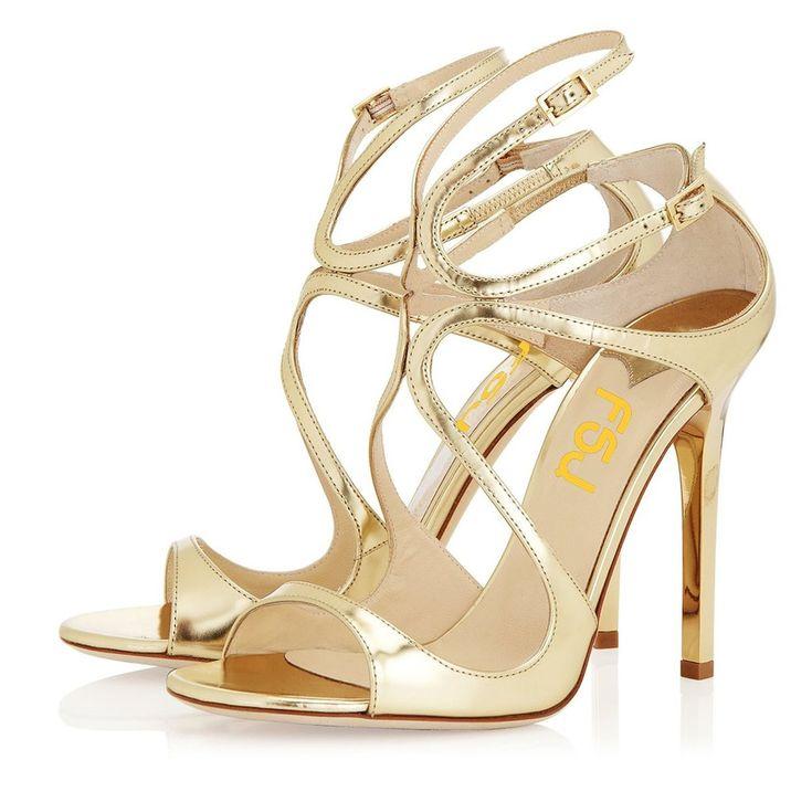 FSJ Tammy Gold Strappy Sandals Classy Gold Heels Prom Shoes Strappy High Heels Shoes Elegant Wedding Dresses Shoes Summer Bucket List Ideas  FSJ