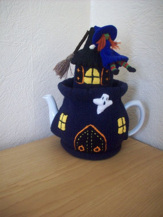 Knitted Tea cosy cosie Witches Castle Halloween by rosiecosie, £15.99