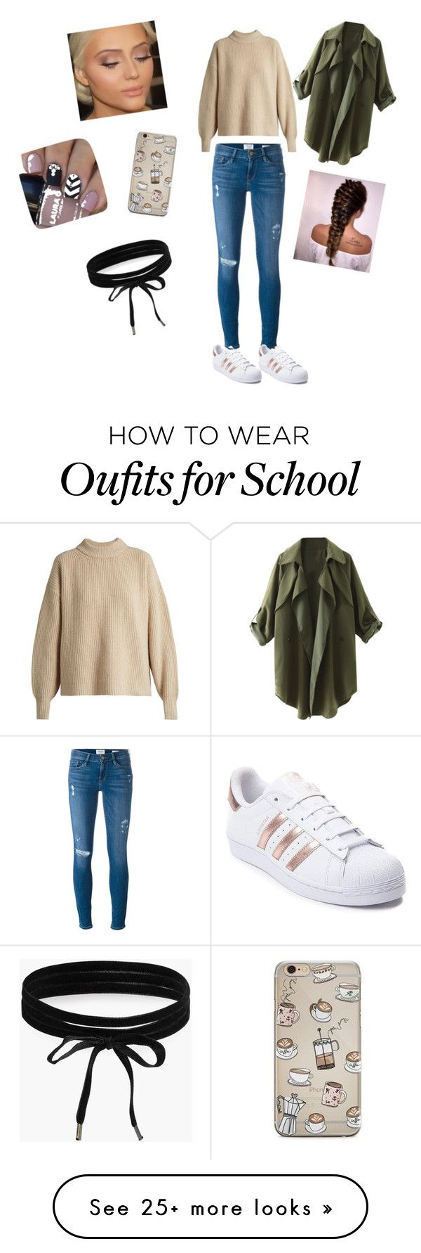 """""""School"""" by ntejada on Polyvore featuring Frame, The Row, adidas and Boohoo"""