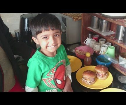 3 year old Kid Chef makes Veg Burgers - First time