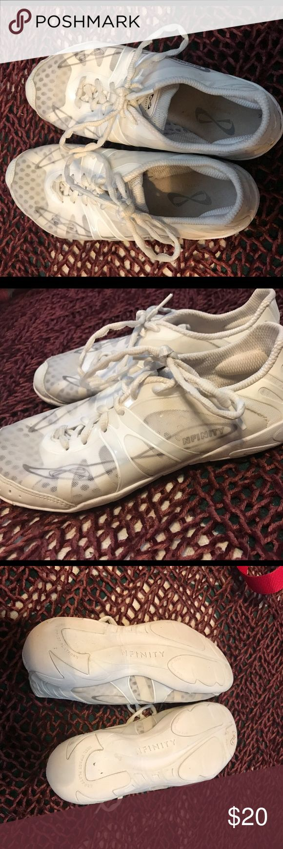 Nfinity cheer shoes with carrying case Never worn outside only used on cheer mats fairly new cheer shoes carrying case is included! nfinity Shoes Athletic Shoes