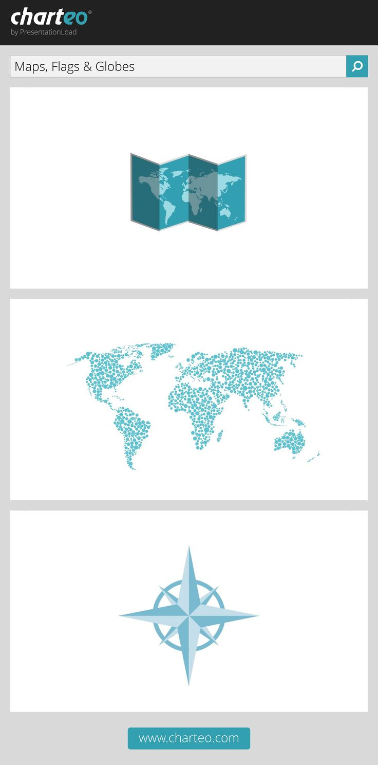 Take advantage of our professional designed maps and related symbols in your PowerPoint presentation.