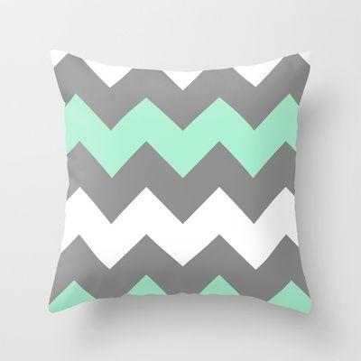 Mint White Grey Chevron Throw Pillow by CreativeAngel - $20.00