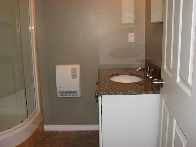 complete the shower, vanity, basin, heat, and electrical