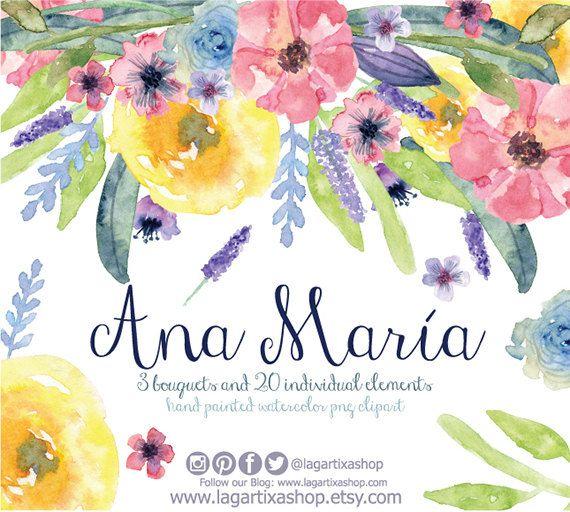 Watercolor clipart, Floral PNG, wedding bouquet, arrangement, bouquet, frames…