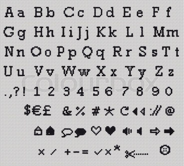Stock image of 'Alphabet, Letter and Icrons Cross-stitch hand crafted.'