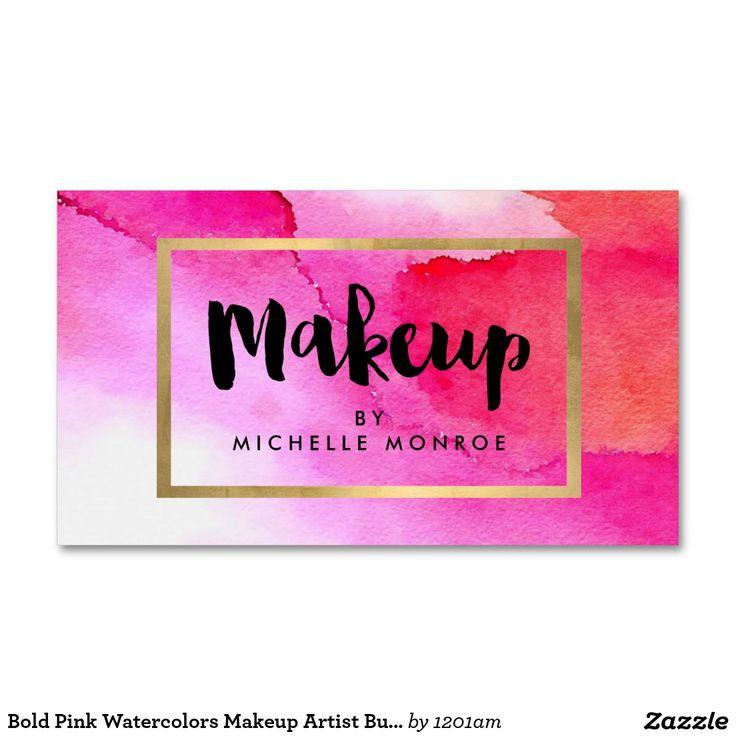 Bold Pink Watercolors Makeup Artist Business Card