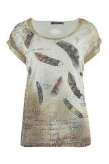 Geisha - shirt met verenprint en gouden details