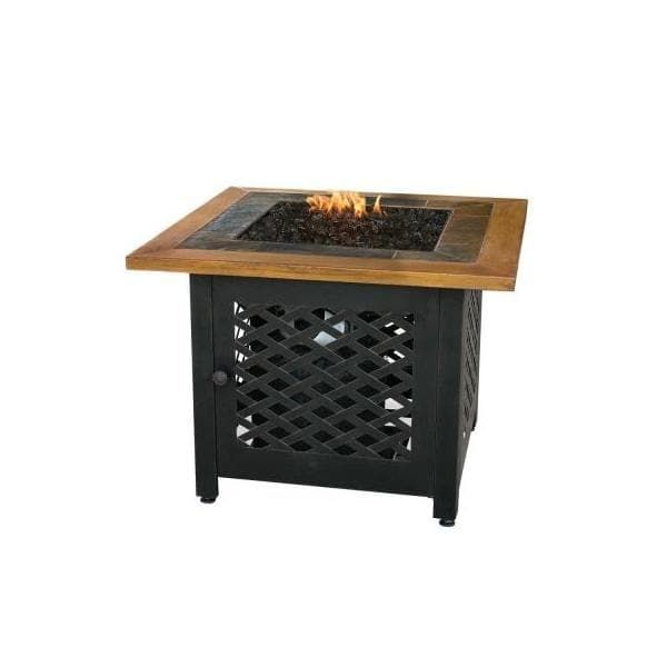 Blue Rhino GAD1391SP LP GAS Outdoor Firebowl With Slate (Grey) AND Faux Wood Mantel (Bronze), Outdoor Décor