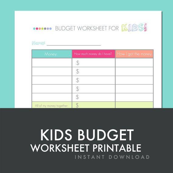 Kids Budget Worksheet Printable PDF INSTANT DOWNLOAD By