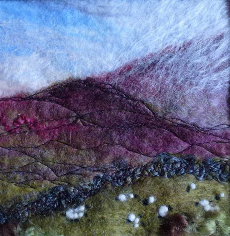 Heathery Mists   -   Threlfall's Art Studio | Silk Paintings | Felt Paintings | Acrylics | Caren and Pete | Country, Town and Seascapes | Workshops |
