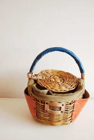 cute basket! with leather pockets!