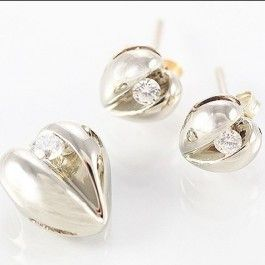 Seagull Gifts | Diamond Heart Pendant and Earring Set, 9ct White Gold | seagullgifts.com.au