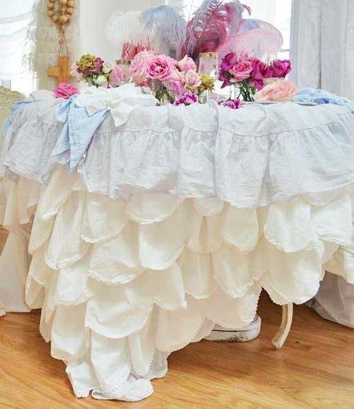 Good Shabby Chic Decor ○ Ruffled Tablecloth « My Website