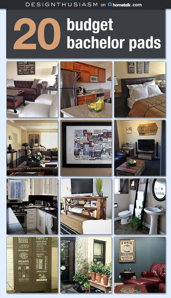 Bachelor pad on a budget   Decorating a first apartment   Industrial decor ideas for a small bachelor apartment   Room ideas for guys   designthusiasm.com