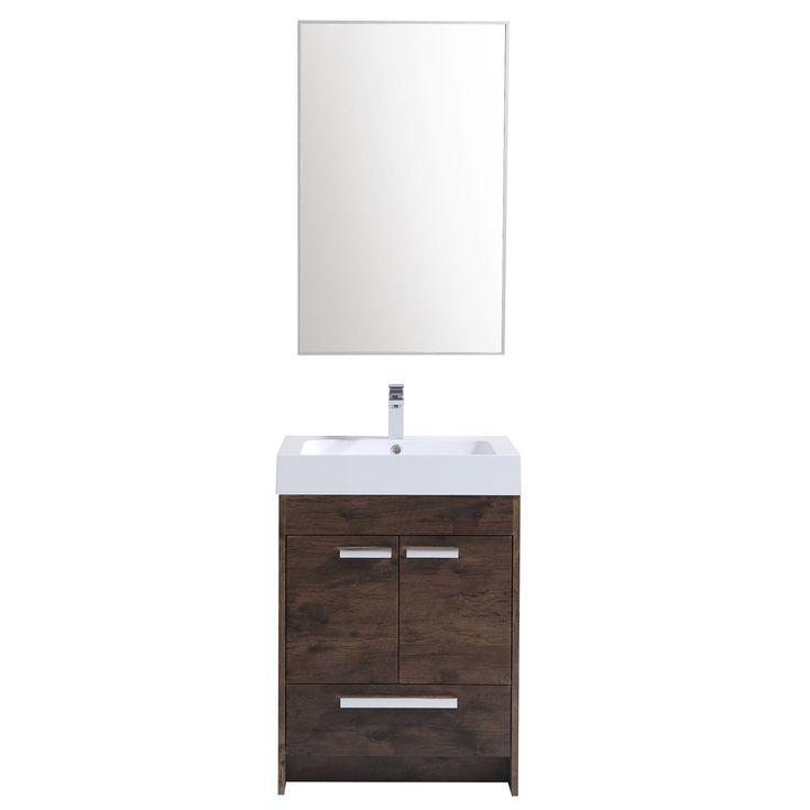 diy distressed bathroom vanity%0A Eviva Lugano Modern Rosewood   inch Bathroom Vanity with White Acrylic  Integrated Sink  Size