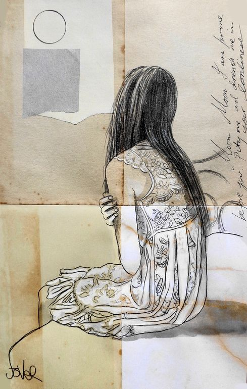 "Saatchi Art Artist: Loui Jover; Ink 2013 Drawing ""moon (SOLD)"""