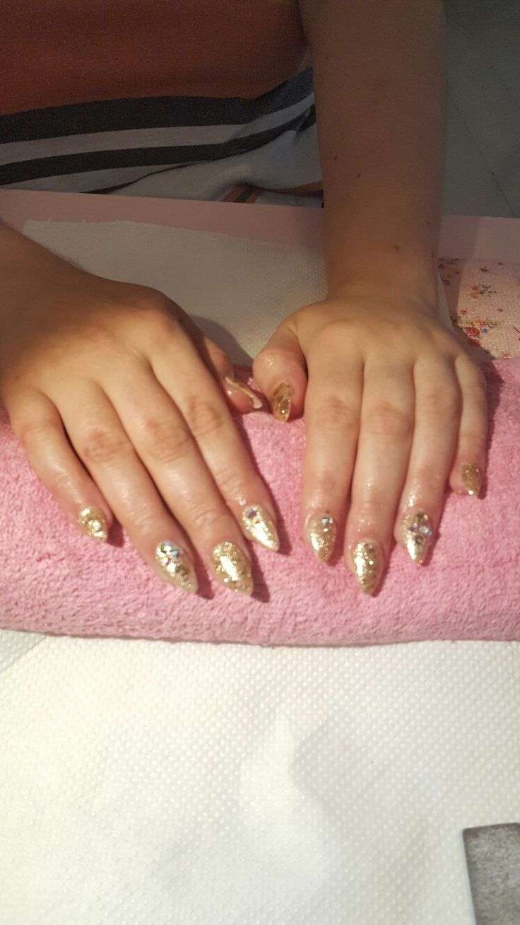 Gold acrylics with swarovski crystals