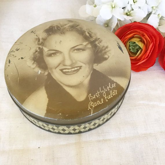 Rare Antique Gracie Fields tin Litho box by WonderCabinetArts