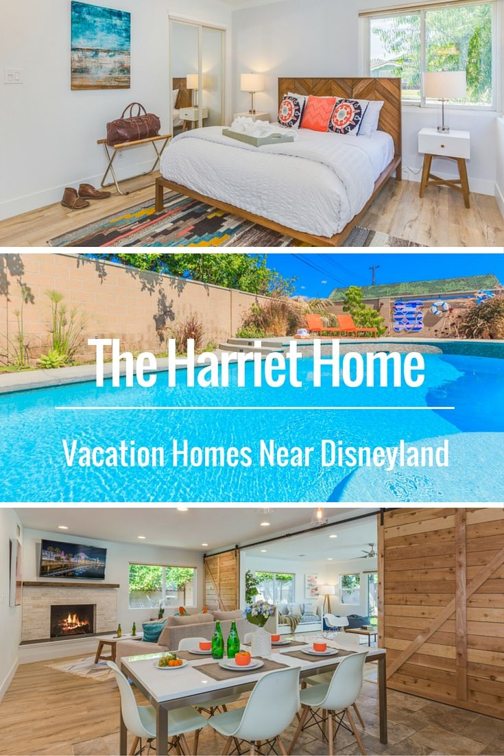 Beautiful and affordable Anaheim vacation homes near Disneyland. | The Harriet Home by Twelve Springs has 4 bedrooms, 2 bathrooms, a pool, a game room, and a den with a barn door.