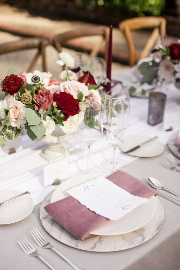 Red and blush tablescape    #wedding #weddings #weddinginspiration #aislesociety #gardenwedding