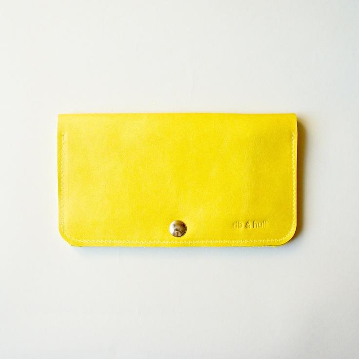 Leather Women's Wallet - Raw Purse - Dijon Yellow. ribandhull  felt & leather & canvas goods, via Etsy.