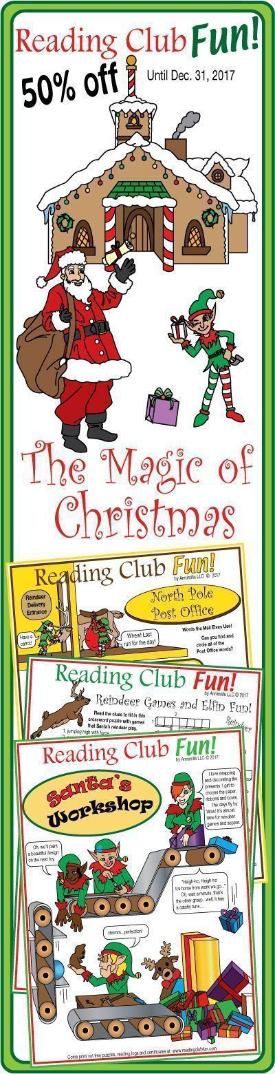 Twelve puzzles with hundreds of sparkling, magical and practical vocabulary describing the inner workings of the busiest places in Santa's village at the North Pole.