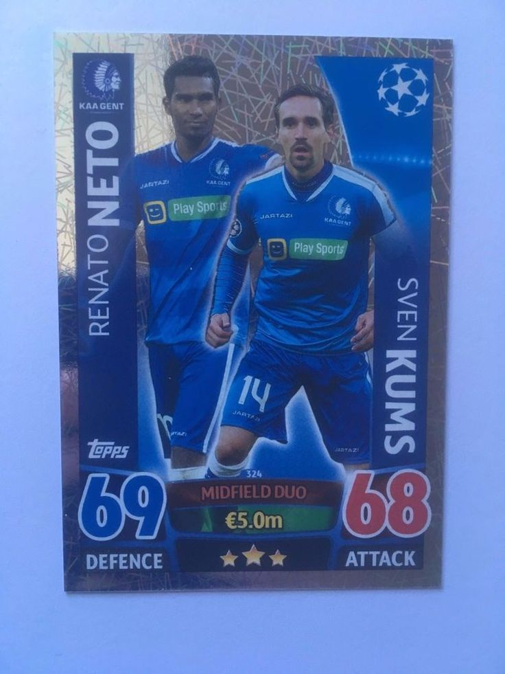 Match Attax 2015/16 KAA Gent Renato Neto Sven Kums Defensive Shiny Trading Card