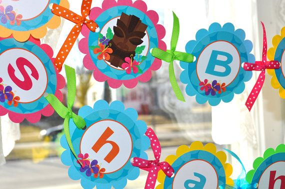 Luau Birthday Banner - Luau Birthday Decorations - Hawaiian Party - Tiki Party - Teal, Pink, Yellow, Green and Orange
