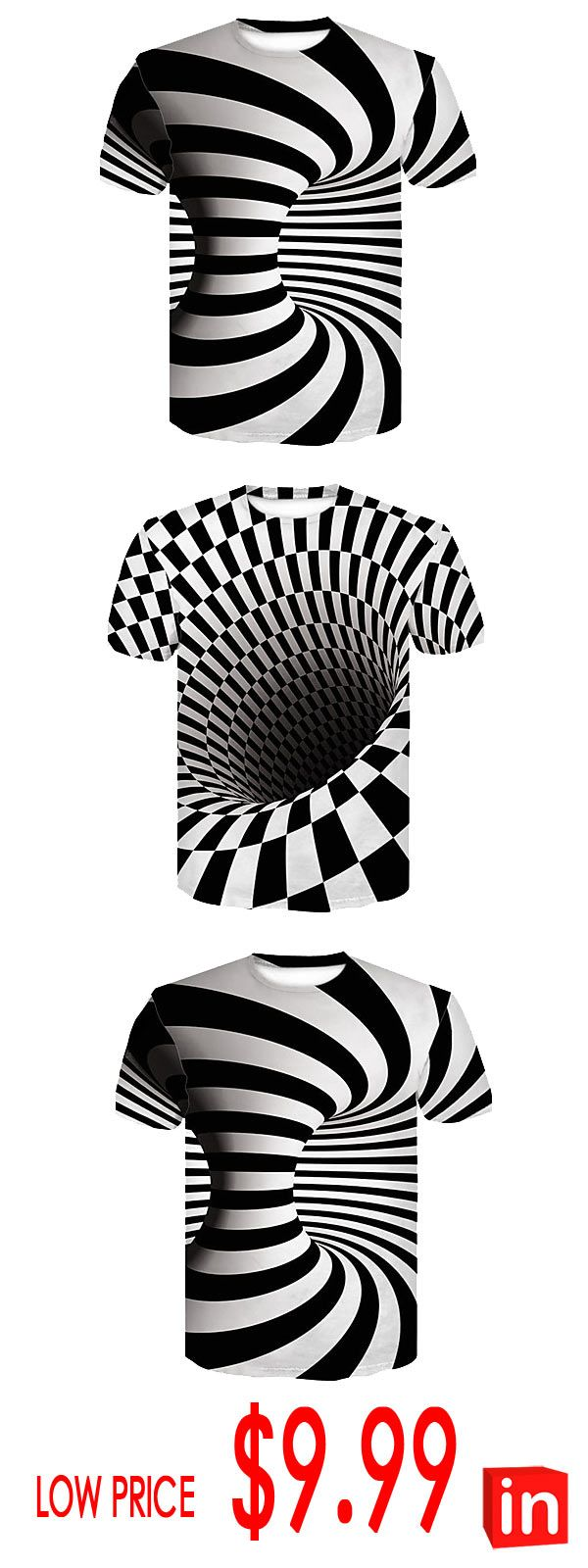 Men's Club Basic / Street chic T-shirt – Color Block Black & White, Print Round Neck White