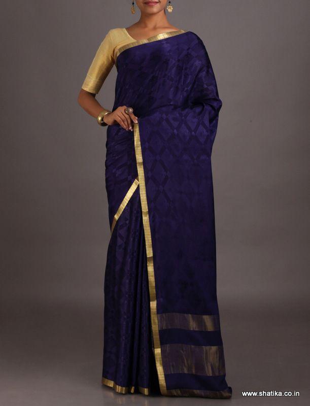 Revati Purple Golden Lace Border #MysoreSilkSaree