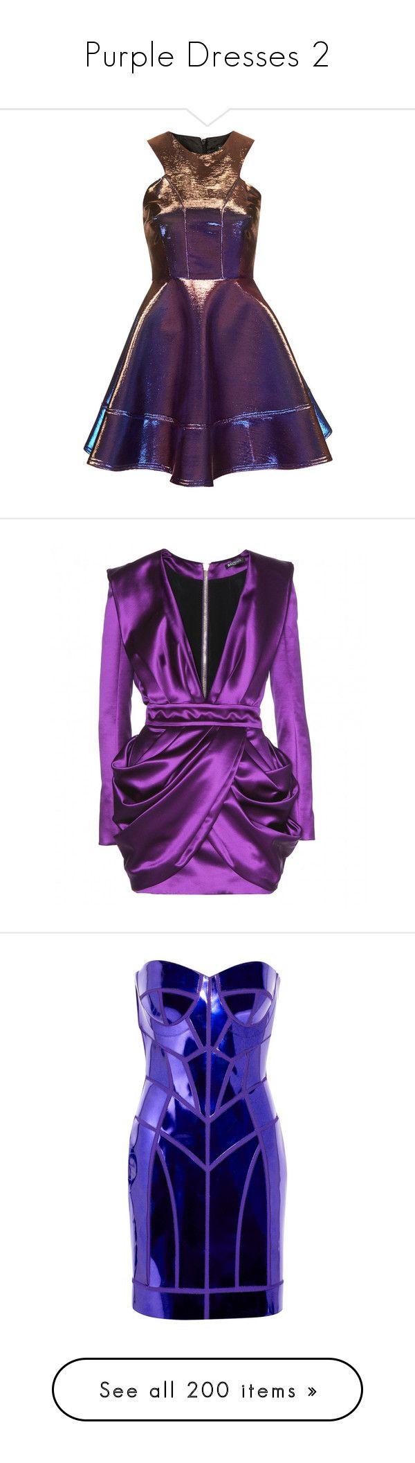 """Purple Dresses 2"" by kingcrimson ❤ liked on Polyvore featuring dresses, topshop, vestidos, short dresses, blue, metallic short dress, metallic mini dress, topshop dresses, purple skater dress and metallic skater dress"