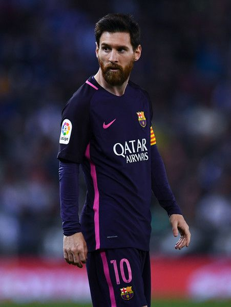 Lionel Messi of FC Barcelona looks on during the La Liga match between RCD Espanyol and FC Barcelona at the RCDE Stadium on April 29, 2017 in Barcelona, Catalonia.