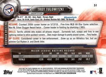 2017 Bowman #51 Troy Tulowitzki Back
