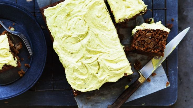 Not your average carrot cake. There are all kinds of things going on including peanut butter!