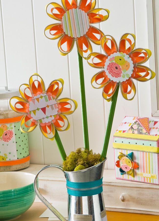 Decoupage - Zipper Flower Bouquet