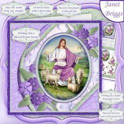 Az Úr az én pásztorom 7,5 Easter Sympathy Decoupage beszúrása Mini Kit