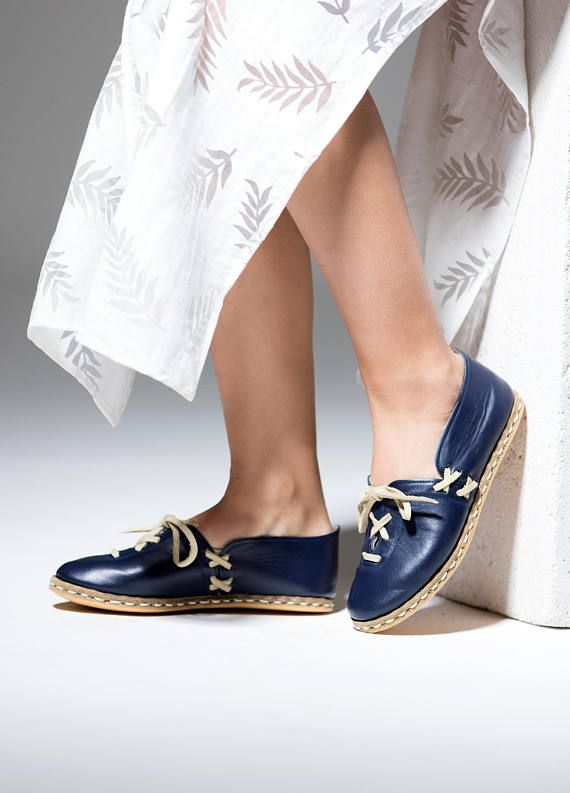 Unique Navy Blue Shoes On Laced Slip Comfortable Leather Handmade q0Ow5xCA 4f4545ff86d