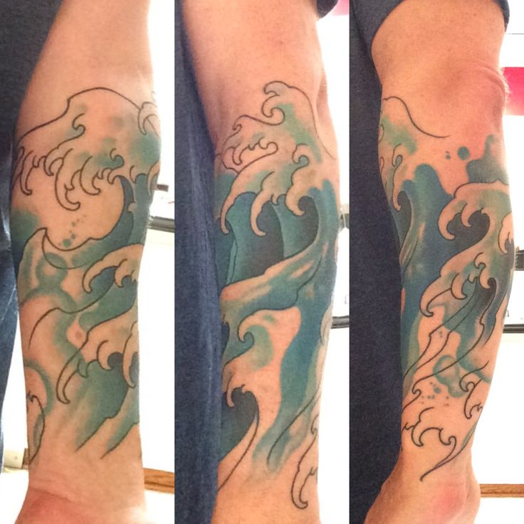 Watercolor waves forearm sleeve tattoo