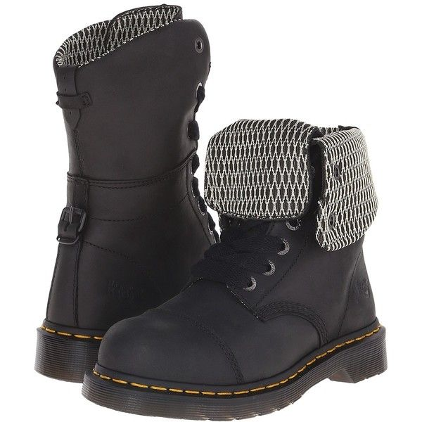 Dr. Martens Work Leah ST Women's Work Boots ($140) ❤ liked on Polyvore featuring shoes, boots, mid-calf boots, lace up boots, safety toe boots, slip resistant work boots and fold over leather boots