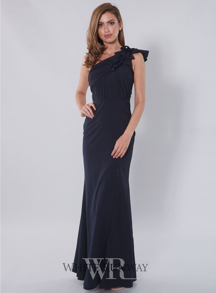 what does it mean when wedding invitation says black tie invited%0A A one shoulder style featuring frill detailing on the shoulder and a subtle  leg slit  A great style for Bridesmaids  Wedding Guests  Formals and Black  Tie