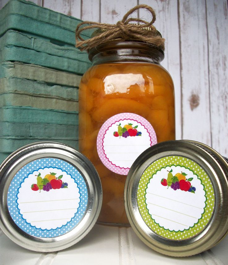 Fruit canning jar labels come in 4 colors. Use these cute round jam jar labels for home canned goods. http://CanningCrafts.com