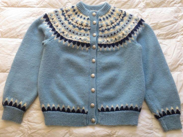 Vintage Lulle Otterstad OSLO NORWAY Hand Knit Wool Sweater Sky Baby Blue #LulleOtterstad