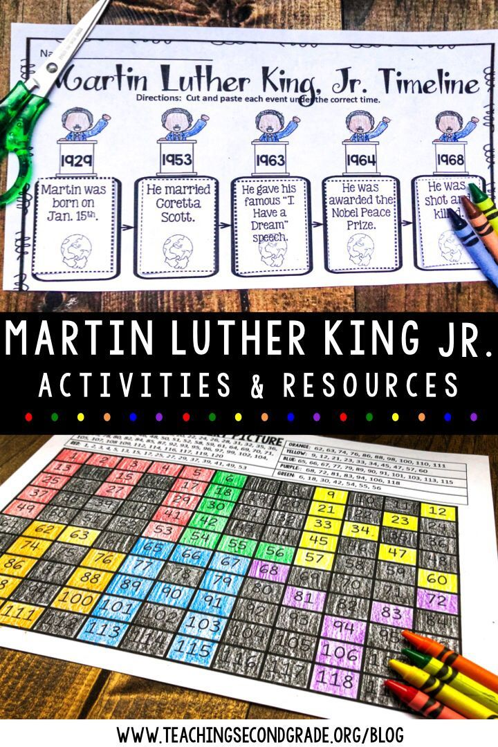 Martin Luther King Jr Activities Which Include A Timeline Color By