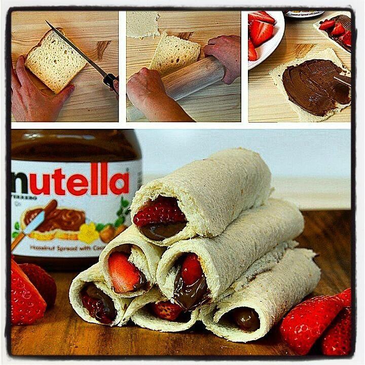 Rollitos de: #nutella #fresas #pan fácil de hacer y riquísimo Yum! #merienda #snack #rollitosdenutella