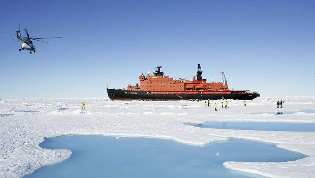 Last chance to sail on 50 Years of Victory to the North Pole is in 2015. This ship carried the Olympic torch to the North Pole in Oct 2013.