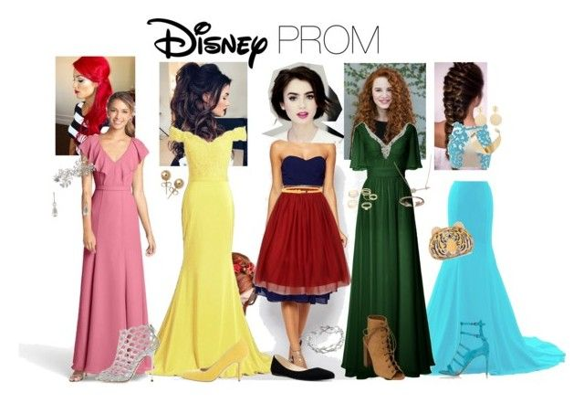 """DISNEY Prom"" by kristen-powell97 ❤ liked on Polyvore featuring Disney, TFNC, Jenny Yoo, Sergio Rossi, Accessorize, Tiffany & Co., Manolo Blahnik, Bling Jewelry, Nine West and GUESS"