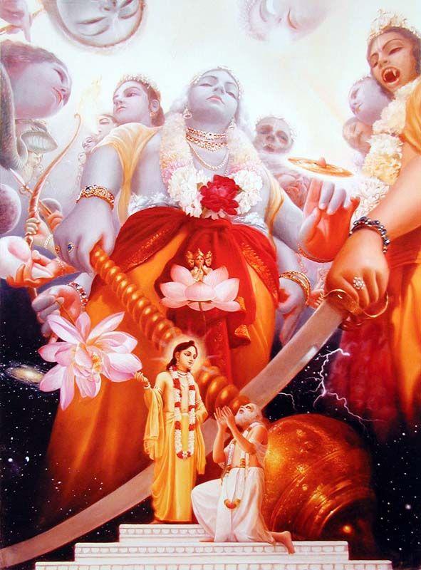 Lord Chaitanya revealing His universal form to Advaitacarya.